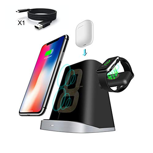 Iphone Stock - 3 in 1 Wireless Charging Station/Dock. Adjustable Wireless Charger for Apple Watch AirPods Charging Station Stock Holder Compatible iPhone XR/X/8 Plus/8 AirPods/Apple Watch Series 3/2/1 (Black)
