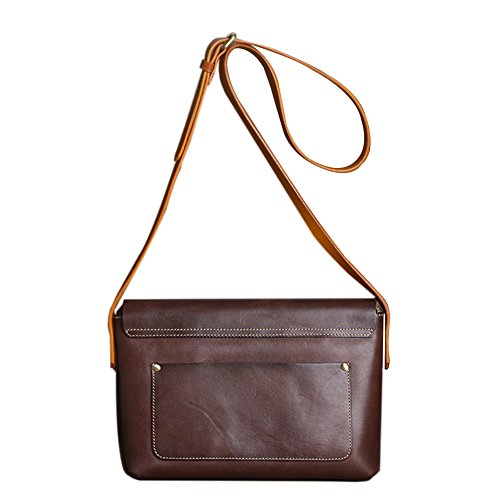 Genda 2Archer Women's Cowhide Genuine Leather Purse Small Crossbody Shoulder Bag (Coffee) by Genda 2Archer (Image #1)