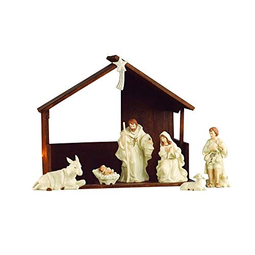 (Belleek Christmas Nativity Scene Porcelain Irish Figurine and Stable Set of 7)