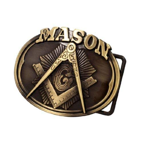 Buckle Rage Adult Mens Freemason Masonic Compass Logo Oval Belt Buckle Bronze - Mason Belt Buckle