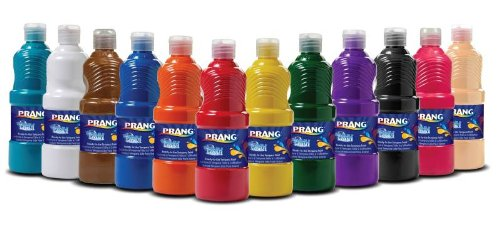 PRANG Ready-to-Use Washable Tempera Paint, 16-Ounce Bottle, Case of 12, Assorted Colors (10796)