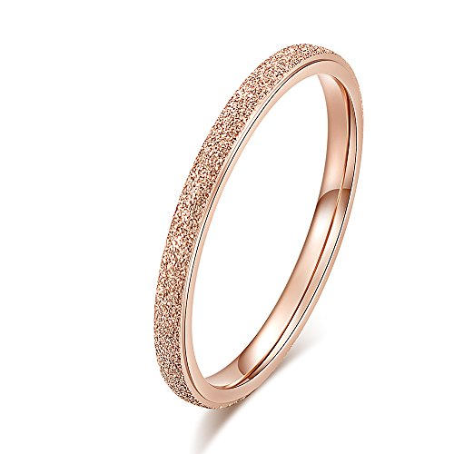 QingFox Pearl Sand 18K Rose Gold Ring Titanium Steel Circle Matte Couple Lover Wedding Band for Women Bridal Shower Christmas Birthday ()