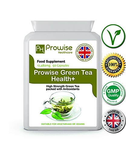 Prowise Green Tea Weight Loss 12,480mg 90 Capsules - Green Tea Capsules - UK Manufactured high Quality to GMP for consistent high Quality - Suitable for Vegetarians & Vegans (Best Green Tea For Weight Loss Uk)