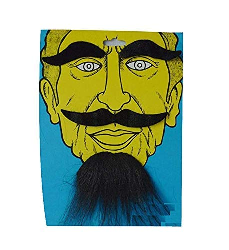 LERORO Novelty Costumes Self Adhesive Fake Eyebrows Beard Moustache Kit Facial Hair Cosplay Props Disguise Decoration for Masquerade Costume Party Halloween /& Christmas Black
