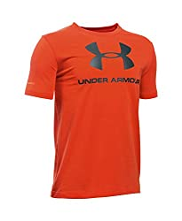 Under Armour Boys' Sportstyle Logo T-Shirt, Stealth Gray/Cardinal, Youth Small