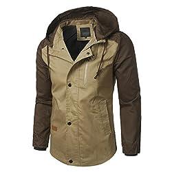Men Autumn Coat,todaies Men Patchwork Jackets Fashion Sweatshirt Jacket Tops Casual Coat Outwear (4xl, Khaki)