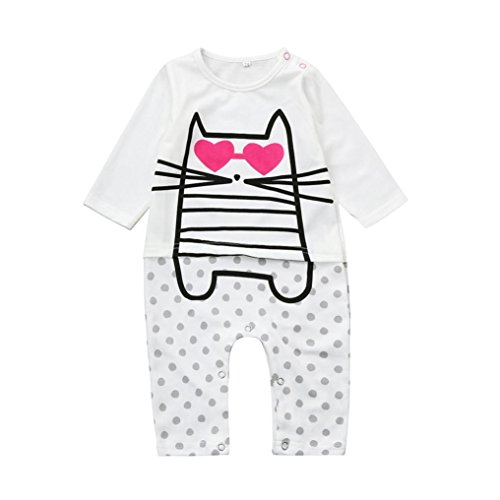 Price comparison product image Baby Boys Girls Jumpsuit Cartoon Heart Dot Romper Outfit Long Sleeve Creepers Bodysuit Clothes (100CM 18Months