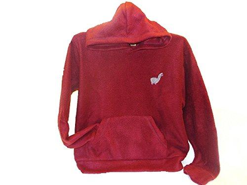 - Deluxe Baja Alpaca Blend Brushed Hoodie Fleece Pullover Shirt Unisex Mountain Size L Maroon Burgundy