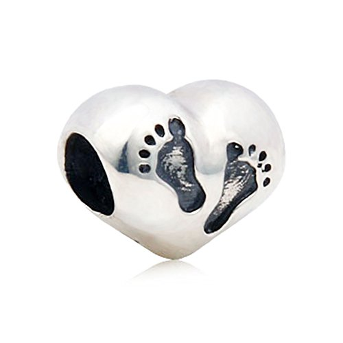 PHOCKSIN Mothers Day Baby Foot Step on The Heart Bead Charms 925 Sterling Silver Fits Bracelets