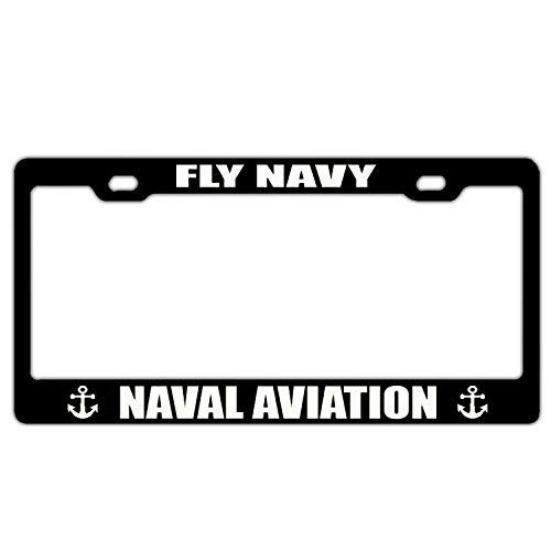 Fly Navy Naval Aviation Aluminum Metal License Plate Frame Holder, Black License Plate Frame, 2 Hole Car Tag Frame for US Standard