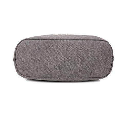 Umily Mädchen Schultasche Alltagstasche Universal Leinwand Multifunktion Canvas Schultertasche-Grey
