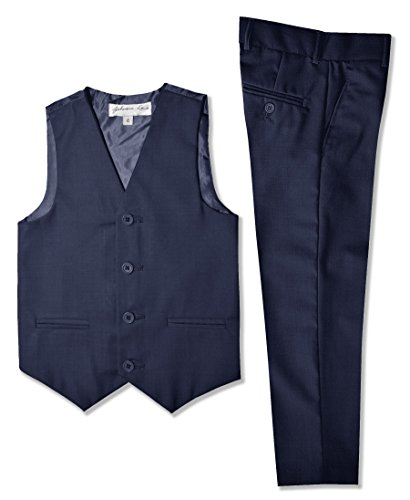 Johnnie Lene Boys Formal Vest and Pants Set #JL42 (8, Navy)