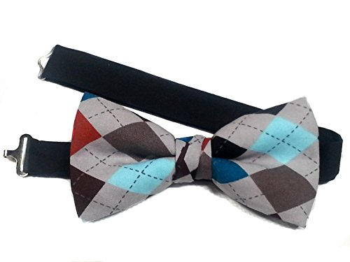 Men's Special Prints Bow Ties (Adult-12 years or older, Gray Argyle) - Argyle Mens Tie