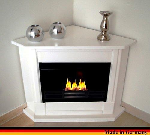 Gel + Ethanol Fire-Places Ethanol Corner Fireplace Model Moskau White (Corner Fireplace Gel Ventless)