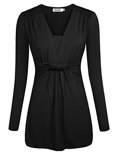 Ninedaily Women Tunics V-neck Ruffles Long Sleeve Blouse Tops Black L