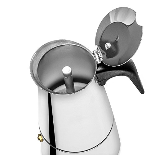 4 Cup Stovetop Espresso Maker Stainless Steel Moka Pot Coffee Maker Italian Coffee Maker Use for Gas Or Electric Stove Top