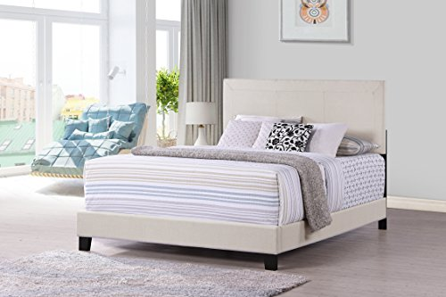 Sleigh Full Metal Size Bed (Furniture World Otto Classic Upholstered Headboard, Queen, Cream (Footboard and Side Rails Sold Separately))