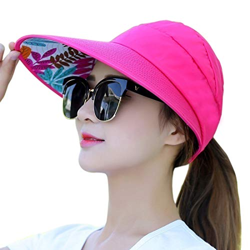 (Muryobao Women's Sun Hats Foldable Wide Brim Roll Up Open Top Hat UV Protection Visor Caps For Summer Beach Golf Fishing Outdoor Rose Red)