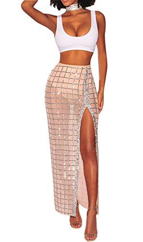 Voghtic Women's Sexy Sequin Mesh See Through High Waist Split Plaid Long Skirt