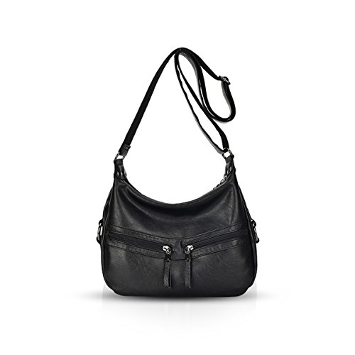 Shoulder Crossbody Woman Black Totes PU Fashion NICOLE Handbag amp;DORIS leather Hobos Soft Bags wZqxI740E