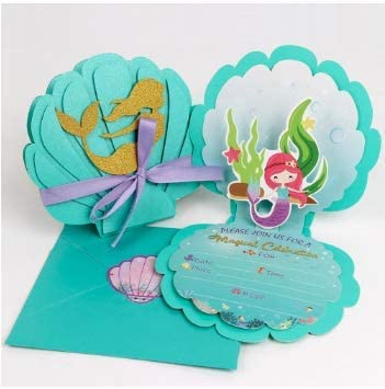 3D Magical Glitter Invitations Cards High Quality Luxury Fill-In the Blank With Envelopes for Kids Girls Friends Adults Mermaid Party 80 Pieces Birthday Baby Shower Wedding Pool Party Celebration Themed Party Supplies Beautiful Cute 20 Cards Pretty