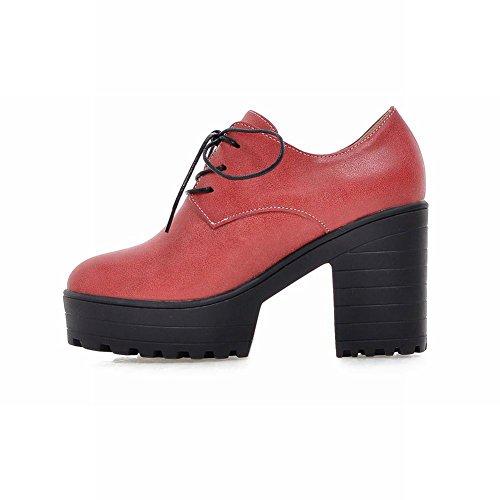 Latasa Kvinna Mode Spets-up Plattform Chunky Hög Klack Oxford Skor Lyser Rött