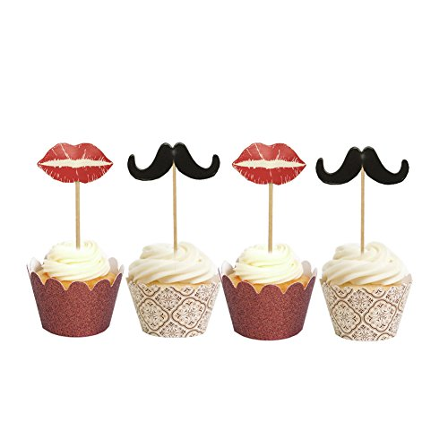 PARTYMASTER Mustache and Red lip toothpicks Mr & Ms Fun Cupcake Topper Series 48PCS Food Toothpicks Cupcake Muffin Toppers