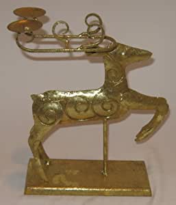 Amazon.com : Gold Decorative Christmas Reindeer with ...