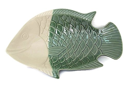 (Large Ceramic Dinner Fish Plate, Unique Design Serving Platter Dish, Fish Shape Textured ceramic Serving Dish, Food Tray, Party Platter for Fish, Sushi, Fruit or Cheese(White&Green))