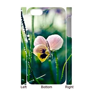 3D iPhone 4/4s Case,Nature Dew Leaf Butterfly Flower Hard Shell Back Case for White iPhone 4/4s