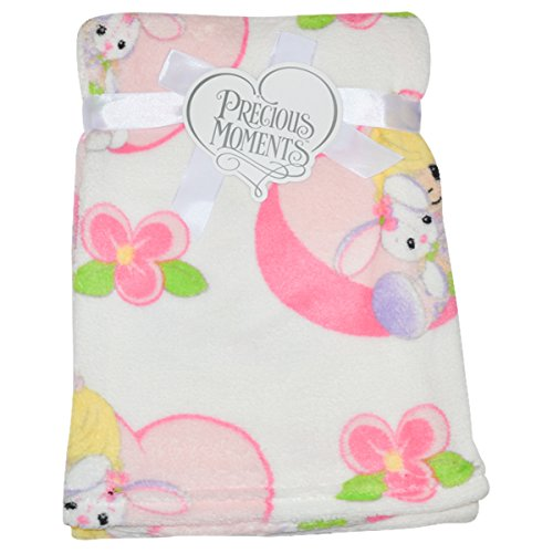 Precious Moments Flowered Bunny Plush Blanket - ivory, one size