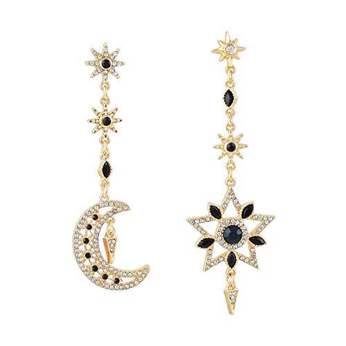 MIXIA Exaggerated Luxury Sun Moon Stars Drop Earrings Rhinestone Punk Earrings for Women Jewelry Golden Boho Vintage Earrings (Blue)