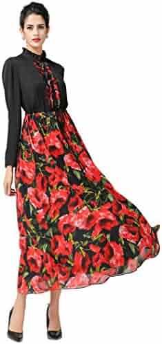 e0a2d06852d VOA Women's Black Splcing Floral Rose Printed Long Sleeve Silk Maxi Dress  A7126