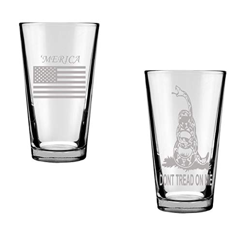 America Drinking Glasses Set of Two: 'Merica Pint Glass and Don't Tread On Me Pint Glass Gadsen Flag, American Pride Patriotic Military Gift for Him Engraved Pint Glasses