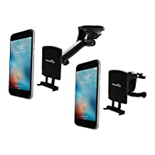 Widras Professional Car Mount Magnetic Phone Holder, 2in1 Windshield and Air Vent cradle for mobile device iPhone 7 7+ / 6s / 6+ / Galaxy S7 / Edge / S6 /Note 5 /Nexus 6, GPS. Compatible with trucks