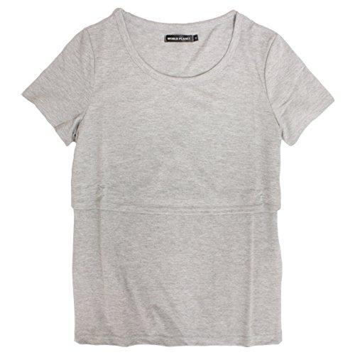 スーパー受益者口ひげマタニティ 半袖 Tシャツ 無地 半袖Tシャツ 授乳服 産後対応 M L グレー L