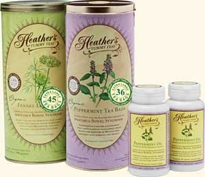Heather's Irritable Bowel Syndrome Tummy Teabag Kit - Fennel Teabag Can, Peppermint Teabag Can, Peppermint Oil Caps (All 15% off!)