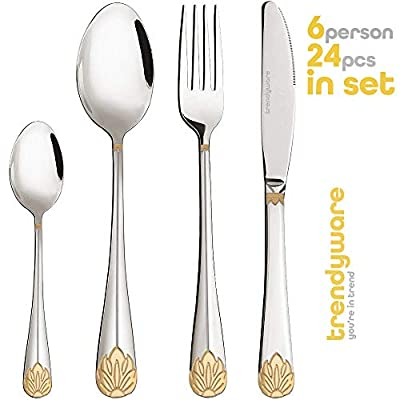 Silverware Set Limited Edition – 24 Piece Family Dinnerware Set – Flatware Set for 6 – Silver Tableware Set w/Gold Accents – Great for Family Gatherings & Daily Use – Spoons, Knives, Teaspoons, Forks - ✅ LIMITED EDITION SET FOR 6 — This complete silverware set includes 24 pieces to serve up to 6! Highlight every delicious meal with silverware that beautifully accommodates everyone at your dinner table. ✅ GOLD-ACCENTED FLATWARE — Our gold silverware set features 24 pieces of silverware accented with a beautiful lotus design. Confidently showcase elegant tableware that's both stylish and ergonomic! ✅ HIGH-QUALITY MATERIAL — Our flatware set is made with top-grade stainless steel for both durability and design. Enjoy a long-lasting utensil set specially crafted to last you for years to come. - kitchen-tabletop, kitchen-dining-room, flatware - 4131JhZtxCL. SS400  -