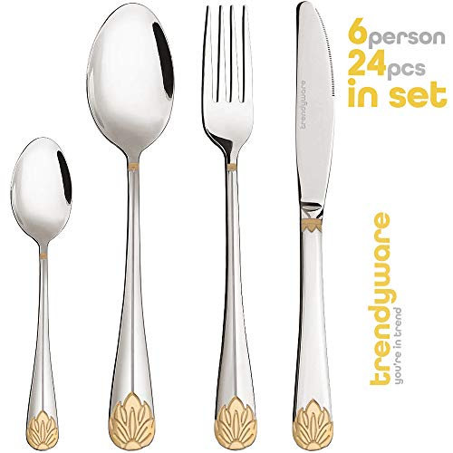 Silverware Set Limited Edition - 24 Piece Family Dinnerware Set - Flatware Set for 6 - Silver Tableware Set w/Gold Accents - Great for Family Gatherings & Daily Use - Spoons, Knives, Teaspoons, Forks