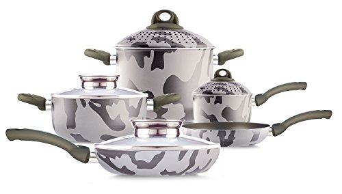 Pensofal 07PEN8322 Army Bioceramix Non-Stick 9-Piece Cookware Set