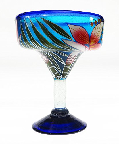 Mexican Glass Margarita Hand Painted White Orchid, 14 Oz, Set of 6 by Mexican Margarita Glasses (Image #1)