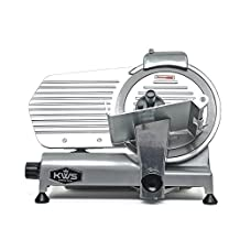 "KWS Commercial 320w Electric Meat Slicer 10"" Frozen Meat Deli Slicer Coffee Shop/restaurant and Home Use Low Noises (Stainless Steel Blade--Silver)"