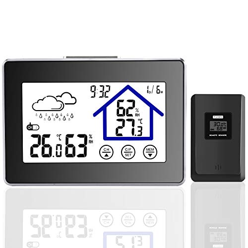 - Joypea Wireless Weather Station,Indoor/Outdoor Wireless Temperature and Humidity Monitor- Temperature, Humidity, Current Time Backlight Outdoor Sensor-Black