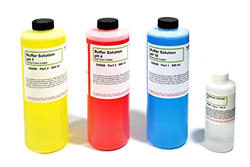 IS Extra Large pH Buffer Calibration Kit - 16.9 Ounce each pH 4, 7, 10 and 4 Ounce Potassium Chloride - Curated Chemical Collection