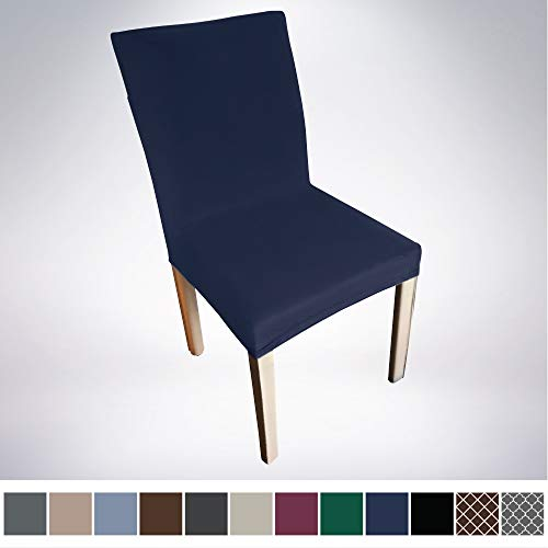 Gorilla Grip Original Velvet Fitted 1 Piece Dining Chair Slipcover, Set of 2, Seat Width to 21.5 Inches, Stretchy Velvety Slip Cover, Spandex Chairs Furniture Protector, Protect from Food, Navy Blue (Slipcovered Dining Chairs)