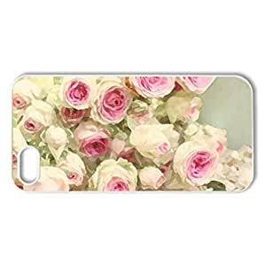 Soft Pink Rose - Case Cover for iPhone 5 and 5S (Flowers Series, Watercolor style, White)