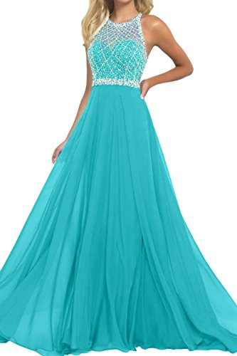 SeasonMall Women's Prom Dresses A Line Halter Open Back Chiffon & Tulle Dresses Size 8 Ice Blue by SeasonMall