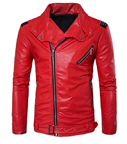 RkBaoye Mens Casual Turn Down Collar Leather Simple Zip Moto Biker Jacket Red