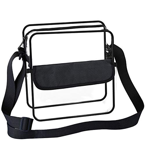 BAGAIL Clear Purse NFL &PGA Approved Cross-Body Shoulder Messenger Bag with Adjustable Strap (Black, 8x8x3 inch)