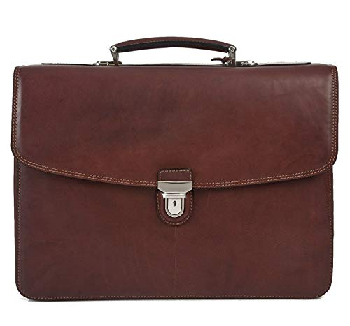 """17"""" Laptop Business Briefcase Bag for Professionals Double Compartment Multi Pockets Made with Real Italian Cowhide Leather"""